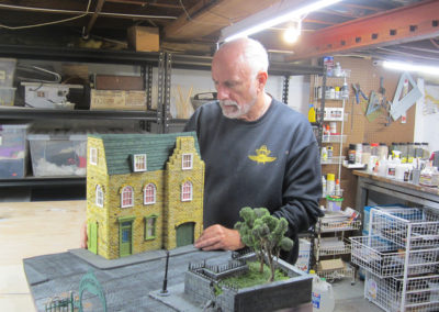 Working in my studio to create a diorama