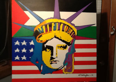 Palestinian Liberty for Gus's Dad..  do a liberty painting for each friend of mine that becomes a US Citizen, with a link to their native country-Gus's  dad was a great american story and I painted this for a true American