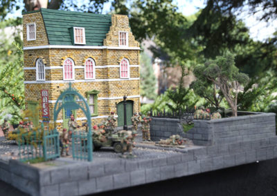 "Diorama of K&C British airborne advancing thru Dutch City of Arnhem from movie ""A Bridge too Far""-14"
