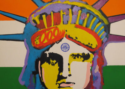 Indian liberty for new US Citizen-I do a liberty painting for each friend of mine that becomes a US Citizen, with a link to their native country-This is for Aman Devgan of India