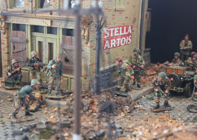 "British Para's and Panzer troops collide in diorama for ""A Bridge too far""."