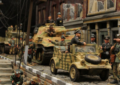 "River front scene for the King and Country Diorama of British airborne advancing thru Dutch City of Arnhem and encountering Panzer division from the movie ""A Bridge too Far"""