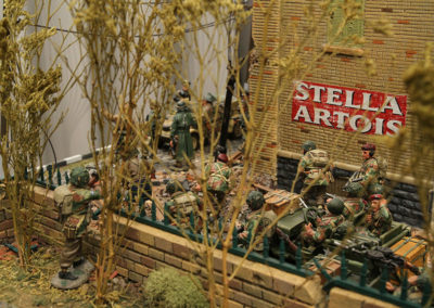 "British Airborne about to get surprised as they march into King and Country Diorama of British airborne advancing thru Dutch City of Arnhem and encountering Panzer division from the movie ""A Bridge too Far"""