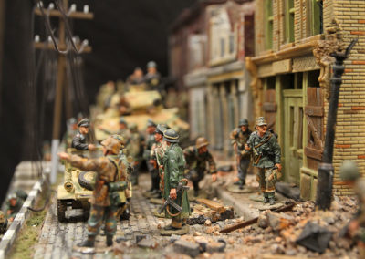 "Street scene of German Panzer  troops for King and Country Diorama of British airborne advancing thru Dutch City of Arnhem and encountering Panzer division from the movie ""A Bridge too Far"""
