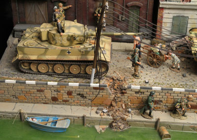 "King and Country Diorama of British airborne advancing thru Dutch City of Arnhem and encountering Panzer division from the movie ""A Bridge too Far"""