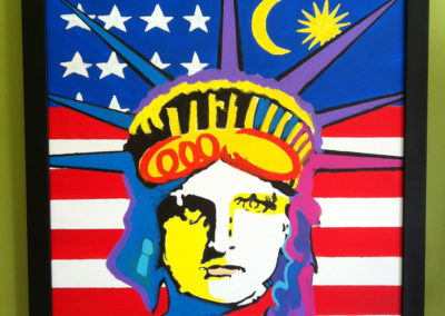 Malaysian Liberty for new US Citizen-I do a liberty painting for each friend of mine that becomes a US Citizen, with a link to their native country, in this case Malaysia for Chee Wong