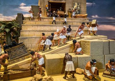 Construction crews building the temple