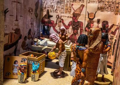 Inside the detailed mummification preparation chamber