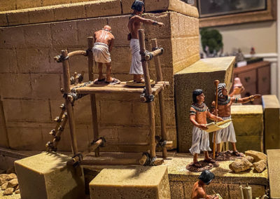 Construction crew building a new temple