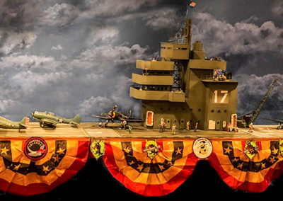 USS Bunker Hill-12 long diorama containing 10 planes and 40 crew and pilots from John Jenkins Designs