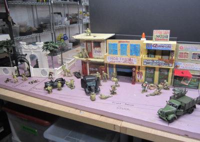 The scene under construction