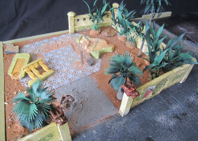 Temple grounds under construction using craft store plants