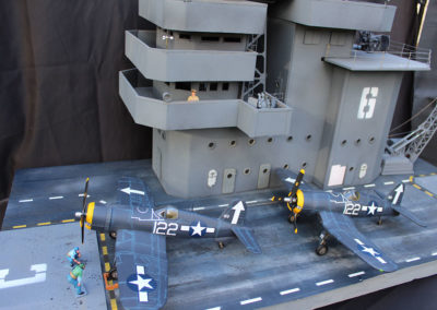 """Painting and detailing complete. I built the 4' deck using Midwest products 3 x 24"""" basswood flooring over a foam insulation board foundation, which perfectly depicted the wood planks laid over steel decking used on WWII carriers."""