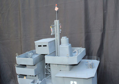 The radar tower is made from Evergreen plastic strips, and the radar made from bent screen . The signal flags were found on line,