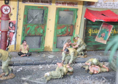 Casualty aide stations were set up in the middle of the fight to treat the wounded.