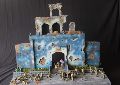The diorama is 2 ft x 4 ft x 2 ft high