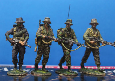 I wanted to make a diorama that reflected my tour of duty in Vietnam with Special Forces in 1969. I focused on a recon patrol in the central highlands, where I was stationed. The figures are conversions from the King and Country Australian VN patrol set.
