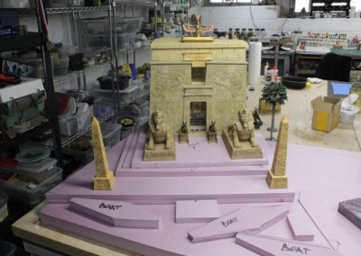 Inside my studio as the diorama construction continues