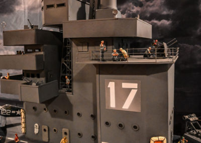 """The carriers operations """"Island"""" and John Jenkins crew prepare for aircraft launch to attack Okinawa during the invasion of that Island in 1944. The nautical elements and gray auto primer paint scheme adds realistic detail"""