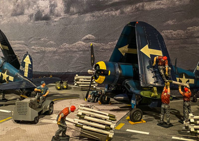 Busy flight deck readying planes for ground attacks